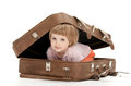 Cute Little Child Inside A Big Suitcase Stock Images - 25051294