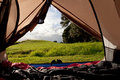 Campsite Nature View From Inside A Tent Stock Image - 25066571