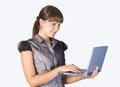Beautiful Girl With Laptop Royalty Free Stock Photo - 25071945