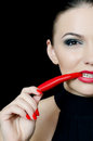 The Beautiful Girl With Pepper Chili Stock Photos - 25089953