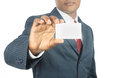 Business Man Showing Blank Business Card Stock Photo - 25129450