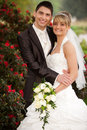 Just Married Couple Smiling Royalty Free Stock Photography - 25130517
