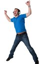 Young Man Listening To Music And Jumping Stock Photo - 25135610