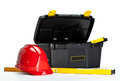 Construction Toolbox, Level And Red Hardhat Royalty Free Stock Photos - 25139598