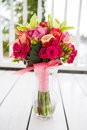 Bouquet Of Flowers In Vase Stock Photography - 25157242