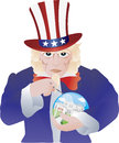 Uncle Sam Bursting The Real Estate Bubble Royalty Free Stock Photography - 25177047