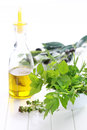 Herbs With Olive Oil Stock Photo - 25197740