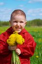 Boy Searches For Bug In Herb On Meadow Stock Photography - 25207512