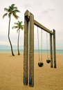 Swing Set At A Park On The Beach Royalty Free Stock Images - 25210309