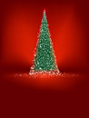 Abstract Green Christmas Tree On Red. EPS 8 Royalty Free Stock Photography - 25236227