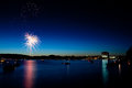 Fireworks Over Lake At Twilight Stock Photo - 25249200