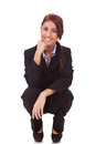 Happy Young Business Woman Standing Down Royalty Free Stock Images - 25251269