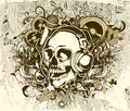 Grunge Music Background With Skull Stock Images - 25268154