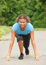 Athletic Woman In Start Position Royalty Free Stock Image - 25269086