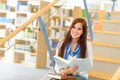 High School Library Student Read At Stairs Stock Photography - 25271452