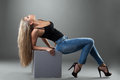 Sexy Blonde Woman In Jeans Royalty Free Stock Photography - 25278407