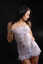 Young Woman In Transparent Dress And Shiny Beads Stock Images - 25288014