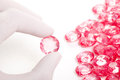 Perfect Hand Keep The Pink Crystal Diamond Royalty Free Stock Photo - 25304705