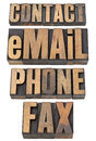 Contact, Email, Phone, Fax Word Set Royalty Free Stock Image - 25306756