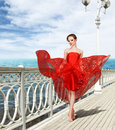 Sexy Young Woman In Long Red Dress Stock Photos - 25321173