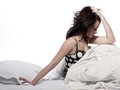 Young Woman In Bed Awakening Tired Insomnia Royalty Free Stock Image - 25322646