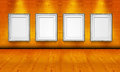 Empty Picture Frames In The Art Gallery Wood Room Royalty Free Stock Photography - 25323097