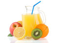 Fresh Fruits And Juice In Glass On White Royalty Free Stock Photo - 25346105