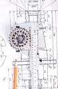 Calliper With Part On Engineering Drawing Stock Image - 25361101