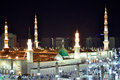 Prophet S Mosque Green Dome At Night Stock Photos - 25365113