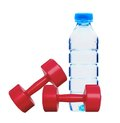 Red Dumbbells Fitness And Bottle Of Water Royalty Free Stock Images - 25401159