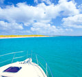Boat Anchored In Formentera Espalmador Island Royalty Free Stock Photo - 25410665
