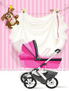 Baby Shower Pink Card Stock Photo - 25423780