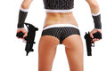 Female Arms With Guns And Sexy Body Cut-out. Stock Photos - 25435553