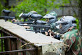 Paintball Players In Camouflage Aims The Enemies Stock Images - 25446564