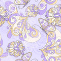 Seamless Pattern With Butterflies And Flowers Stock Image - 25449121