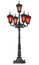 Old Cast Iron Lamp Post With Red Glass Royalty Free Stock Photography - 25455817