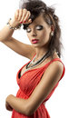 Portrait Of Fashion Brunette With Hand Near Face Stock Photos - 25462623