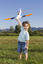 Happy Young Boy And His New RC Plane Royalty Free Stock Images - 25468549
