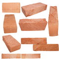 Set Old Red Brick Isolated On White Royalty Free Stock Photo - 25482555