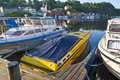 Early Morning On Quayside In Halden (speedboat) Royalty Free Stock Photography - 25511747