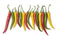 Red, Yellow And Green Chili Peppers In A Row Stock Images - 25526534