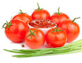 Tomato Sauce, Wet Tomatoes And Fresh Scallions Royalty Free Stock Images - 25529139