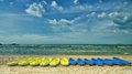 Yellow And Blue Kayaks On A Typical Beach Royalty Free Stock Photography - 25530077