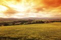 Green Meadow Under Sunset Sky Royalty Free Stock Images - 25533349