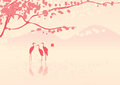 Cherry Blossoms And Herons Royalty Free Stock Photos - 25543848