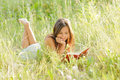 Woman Read Book In The Park Stock Images - 25556174