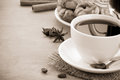 Cup Of Coffee With Beans And Cakes On Wood Stock Photography - 25602862