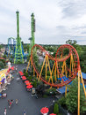Rollercoasters At Six Flags New England Theme Park Stock Photos - 25604363