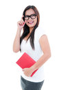 Cute Young Woman Holding Book Royalty Free Stock Photography - 25621307