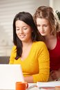 Teen Girls Learning With Laptop Stock Photos - 25642003